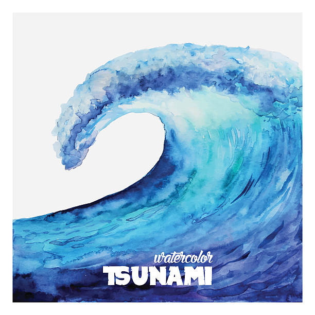 watercolor tsunami wave in various blue tones - tidal wave stock illustrations, clip art, cartoons, & icons