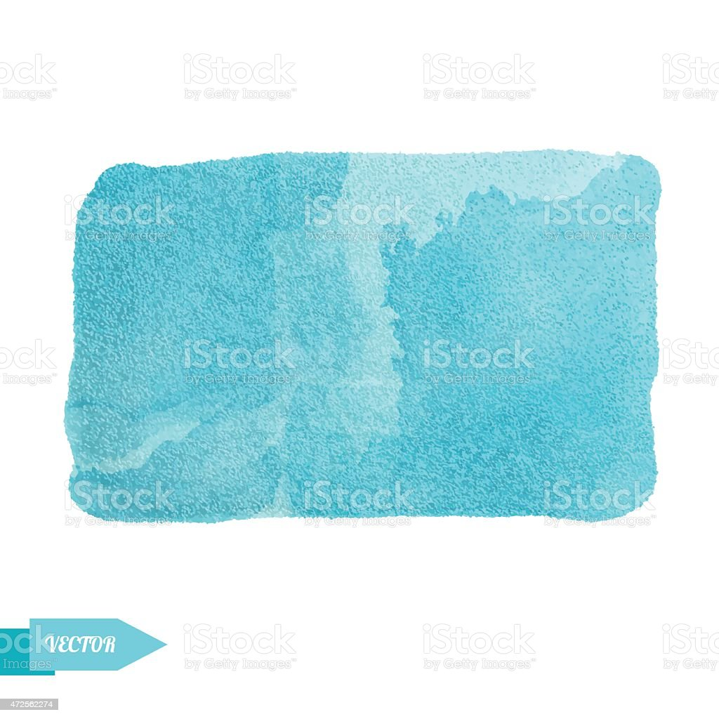 Watercolor turquoise paint stain vector art illustration