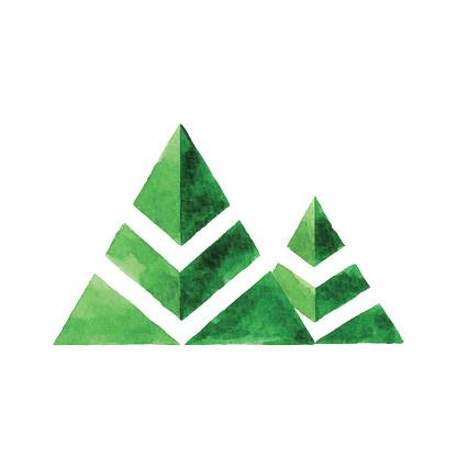 Watercolor Two Tree Logo