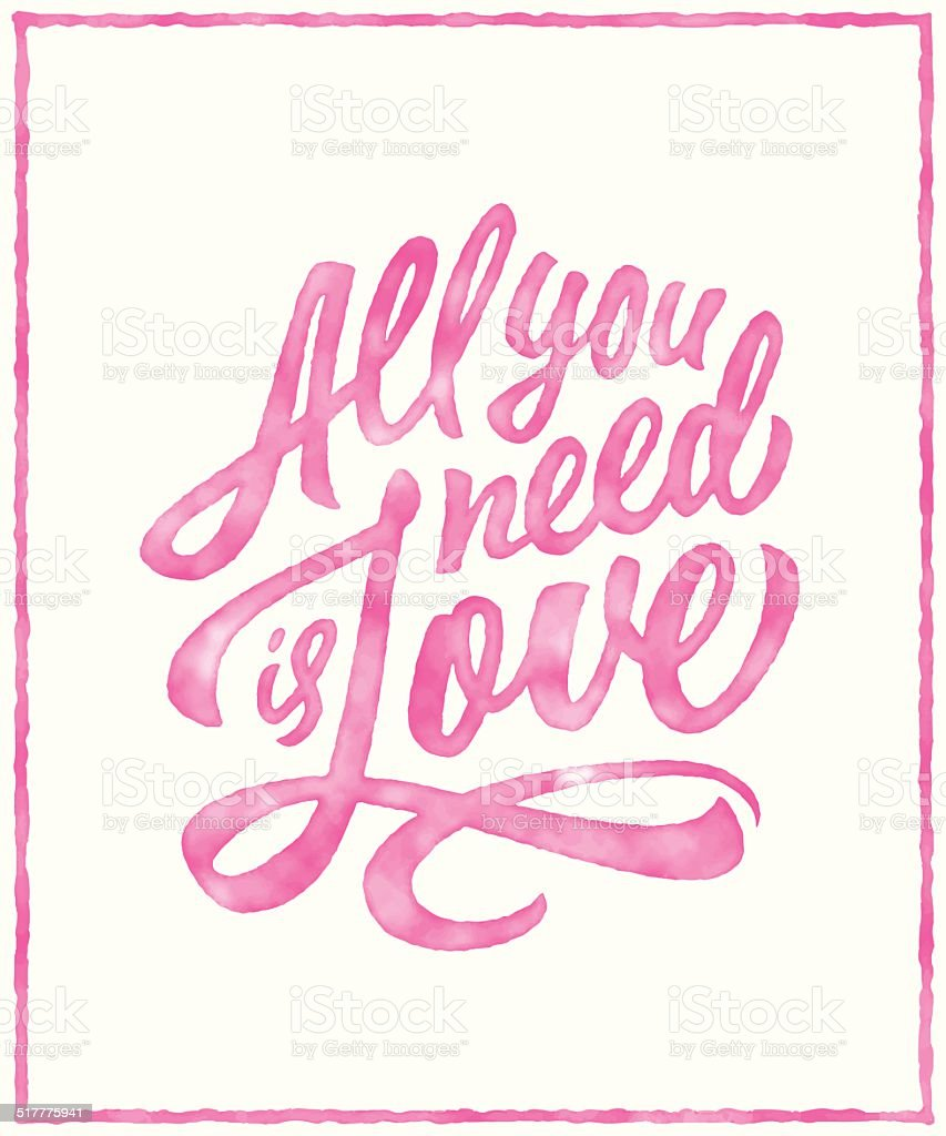 Watercolor typographic lettering love poster vector art illustration