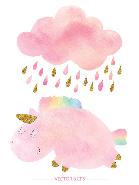 watercolor unicorn and cloud with rain - wunschkinder stock-grafiken, -clipart, -cartoons und -symbole