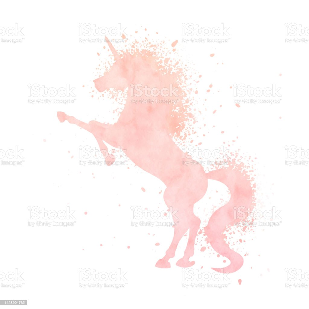 Watercolor Unicorn Silhouette Painting With Splash Texture