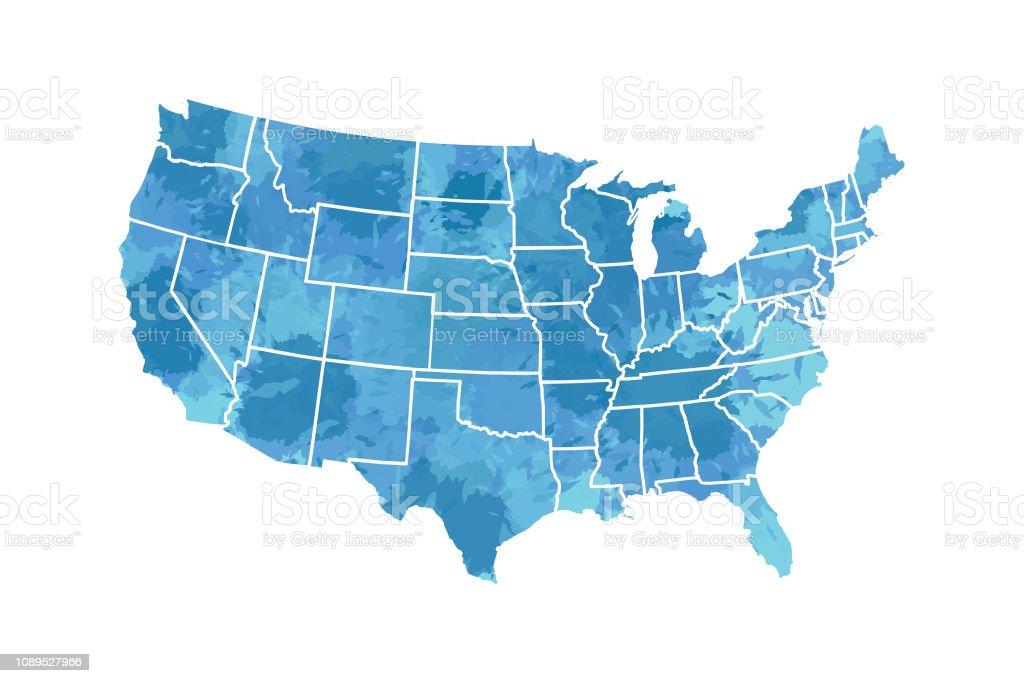 Vector de mapa USA acuarela en color de pintura azul con las fronteras de los Estados en ilustración de fondo blanco ilustración de vector de mapa usa acuarela en color de pintura azul con las fronteras de los estados en ilustración de fondo blanco y más vectores libres de derechos de abstracto libre de derechos