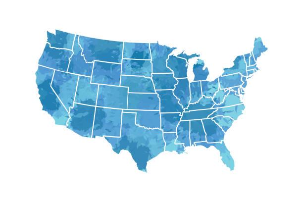 mavi boya renk birleşik devletleri'nin beyaz arka plan illüstrasyon üzerinde noktalı kenarlıklı suluboya harita vektör - abd stock illustrations