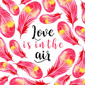 Watercolor Valentine Feather Background