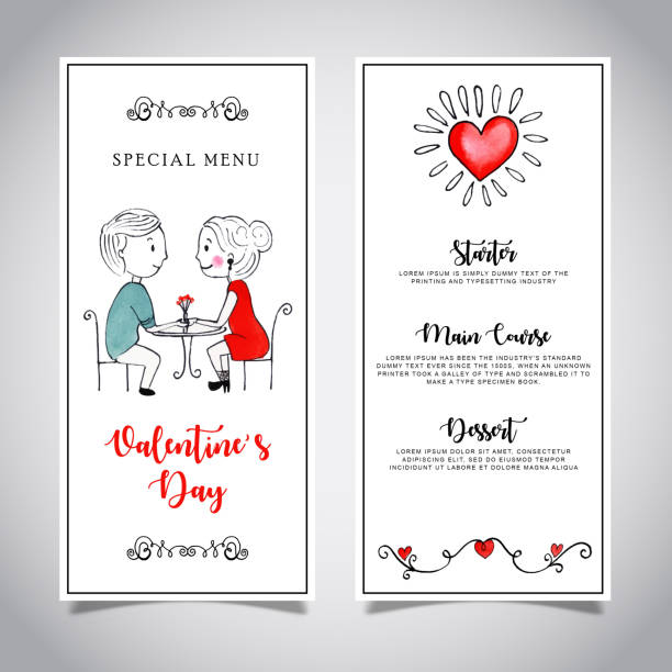 watercolor valentine menu card template * - being in a relationship with someone is going to require stock illustrations, clip art, cartoons, & icons