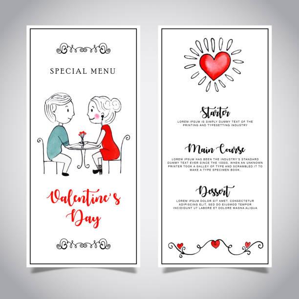 Watercolor Valentine Menu Card Template * vector art illustration