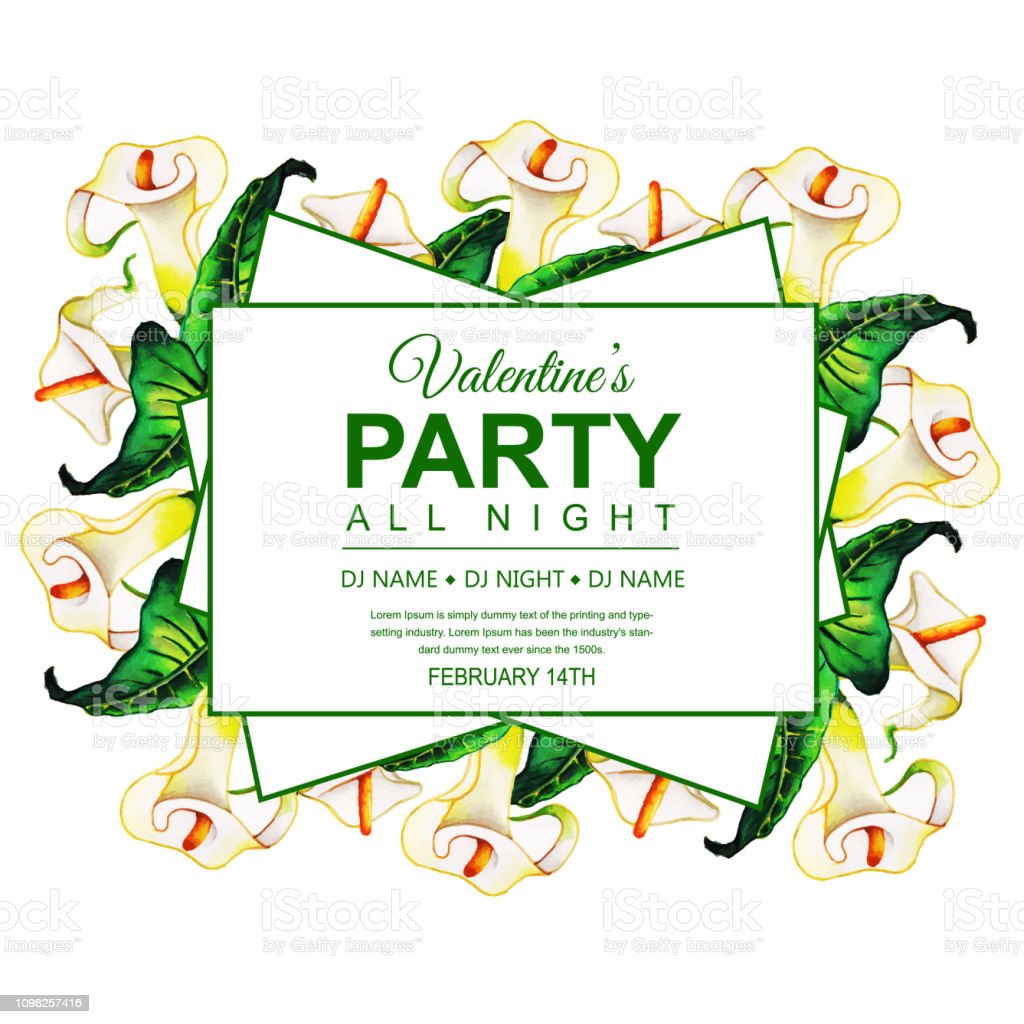 Watercolor Valentines Party Invitation Card Stock