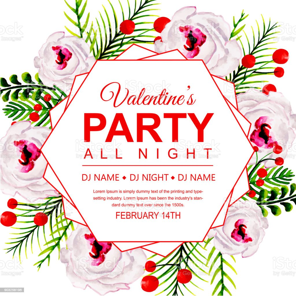 Watercolor Valentines Party Invitation Card stock vector art ...