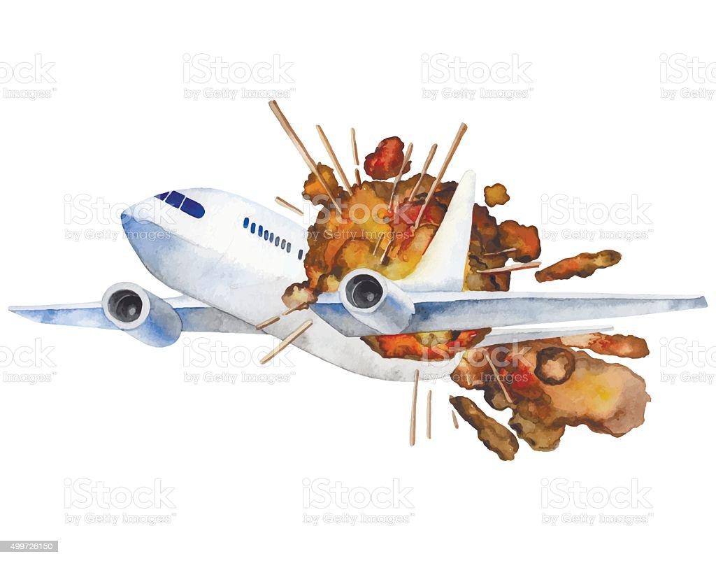 Watercolor vector aircraft explosion vector art illustration