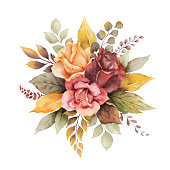 Watercolor vector autumn arrangement with roses and leaves isolated on white background. Botanic composition for greeting cards, wedding invitations, floral poster and decorations.