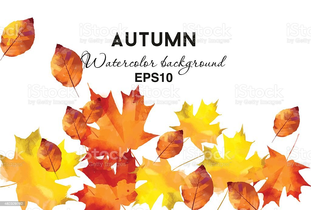 watercolor vector autumn background vector art illustration