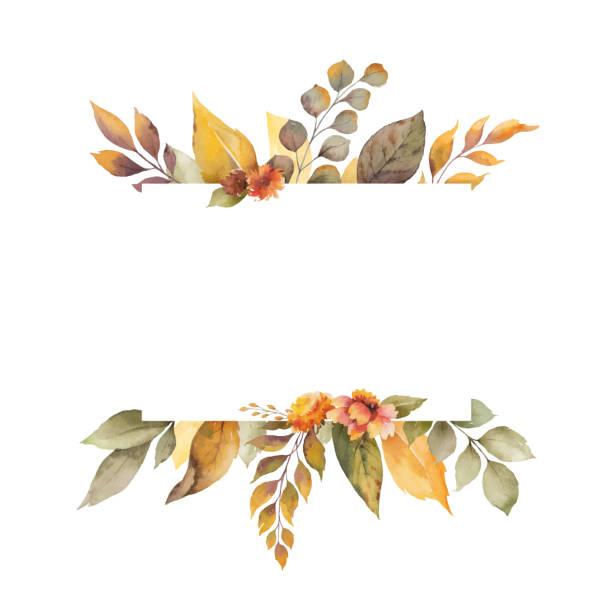 illustrations, cliparts, dessins animés et icônes de bannière d'automne de vecteur d'aquarelle avec des feuilles, des fleurs et des branches d'isolement sur le fond blanc. - chute