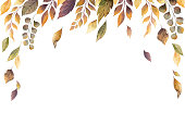 Watercolor vector autumn card with fallen leaves isolated on white background. Botanic composition for greeting cards, wedding invitations, floral poster and decorations.