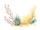 Watercolor vector background with desert and cacti.
