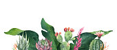 Watercolor vector banner tropical leaves and cacti isolated on white background. Illustration for design wedding invitations, greeting cards, postcards.