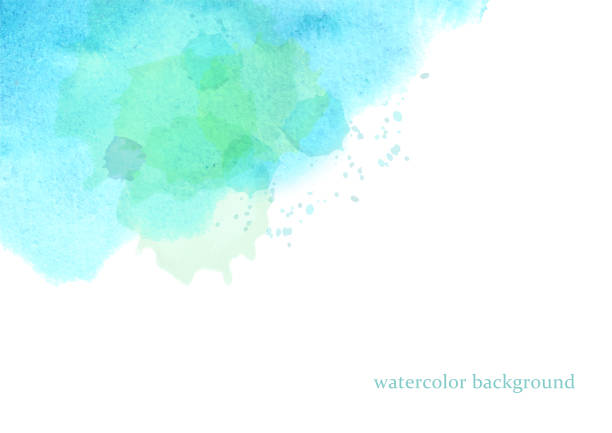 illustrations, cliparts, dessins animés et icônes de vecteur d'aquarelle, fond bleu et vert - fond aquarelle