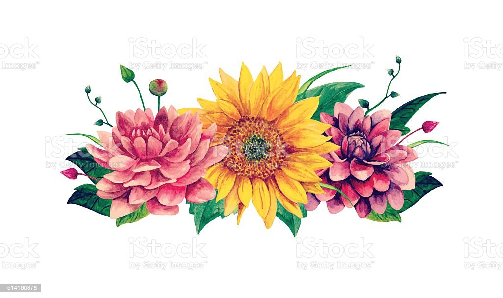 Watercolor Vector Bouquet Clipart Stock Vector Art & More ...