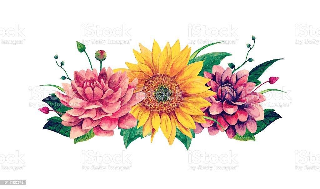 Watercolor vector bouquet clipart