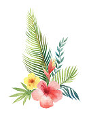 Watercolor vector bouquet tropical leaves and branches isolated on white background. Illustration for design wedding invitations, greeting cards, postcards.