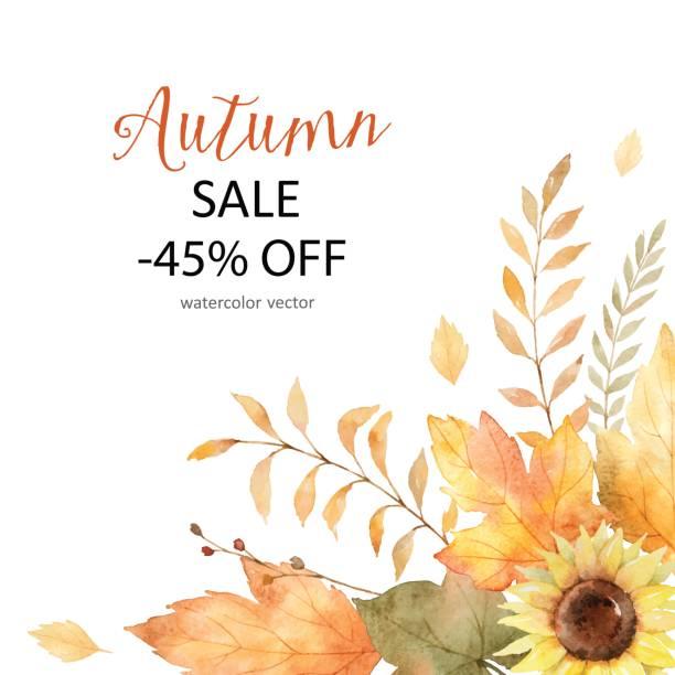 ilustraciones, imágenes clip art, dibujos animados e iconos de stock de tarjeta vector acuarela de hojas y ramas aisladas sobre fondo blanco. - moda de otoño