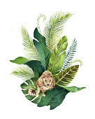 Watercolor vector card tropical leaves and leopard isolated on white background. Illustration for design wedding invitations, greeting cards, postcards.