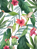 Watercolor vector card tropical leaves,cacti, hummingbird and flowers isolated on white background. Illustration for design wedding invitations, greeting cards, postcards.