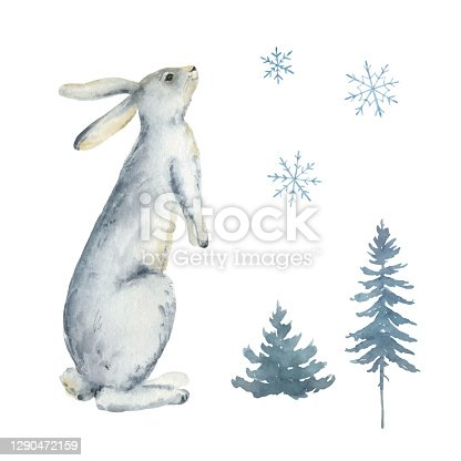 istock Watercolor vector card with a rabbit, fir trees and snowflakes isolated on a white background. Perfect graphic for  greeting cards, party invitations, scrapbooking, posters, quotes and more. 1290472159
