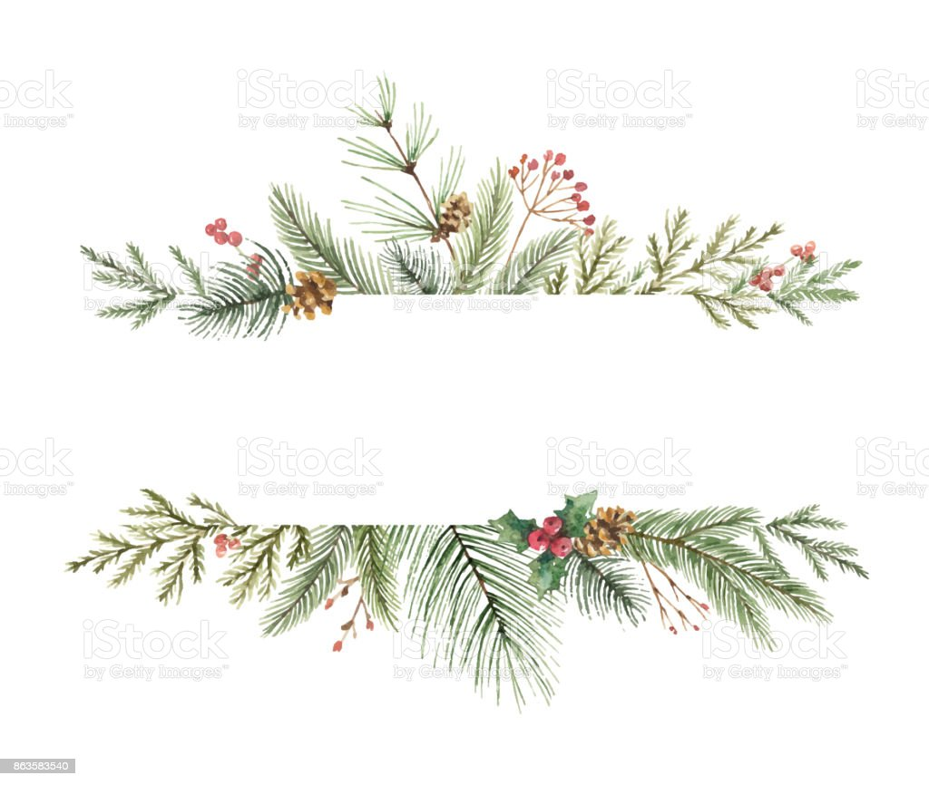 Watercolor Vector Christmas Banner With Fir Branches And ...
