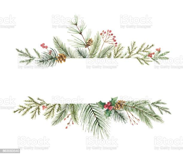 Watercolor vector christmas banner with fir branches and place for vector id863583540?b=1&k=6&m=863583540&s=612x612&h=li 8yivvjliuy4kjans5y9pilucr8pp 3gqdw06owou=