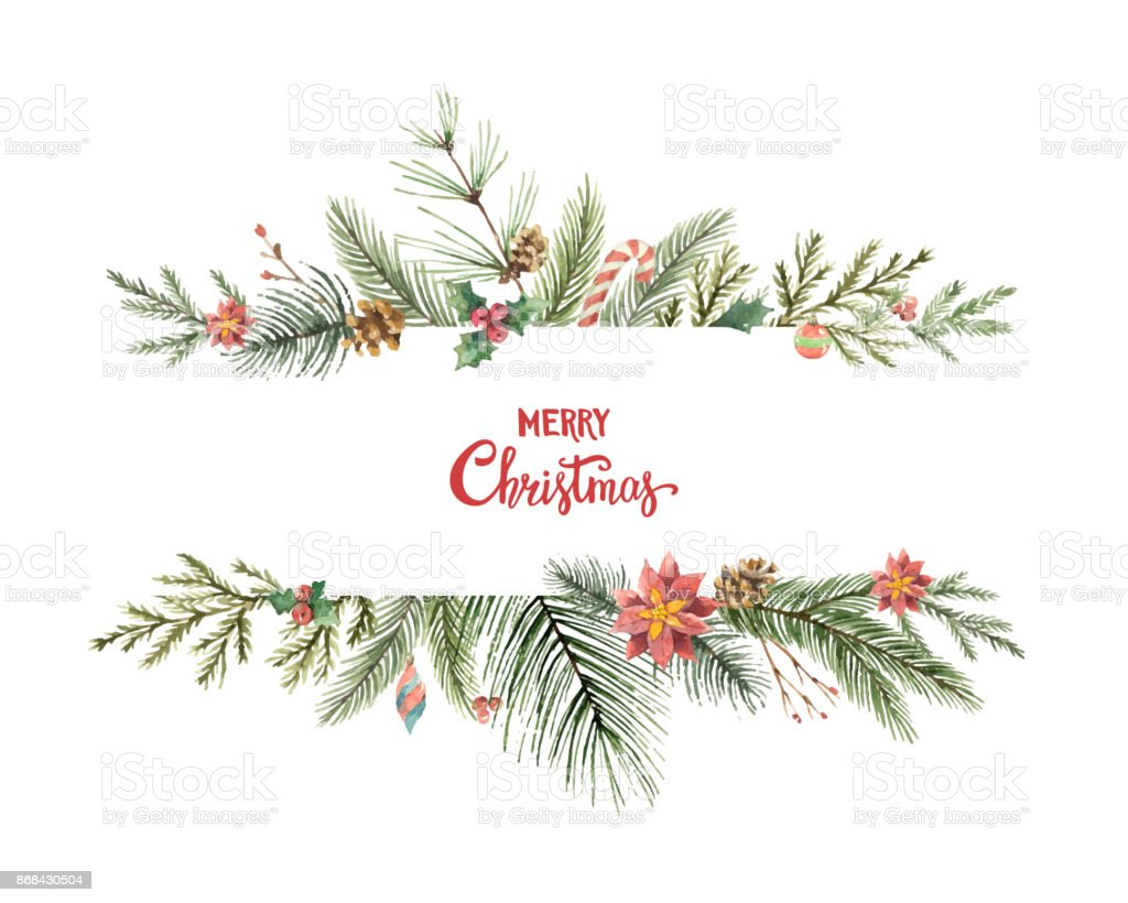 Watercolor vector Christmas banner with fir branches and place for text. vector art illustration