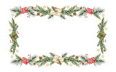 Watercolor vector Christmas banner with green fir branches and gift. Illustration for greeting cards and invitations isolated on white background.