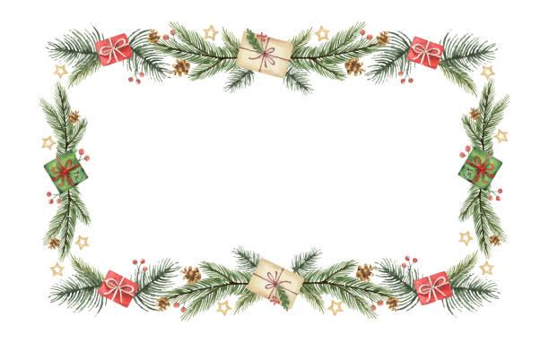 akwarela wektorowy świąteczny sztandar z zielonymi gałęziami jodłowych i prezentem. - gałąź część rośliny stock illustrations
