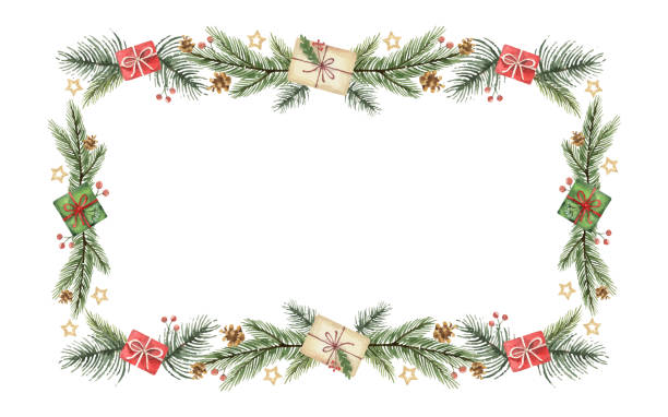Watercolor vector Christmas banner with green fir branches and gift. Watercolor vector Christmas banner with green fir branches and gift. Illustration for greeting cards and invitations isolated on white background. branch plant part stock illustrations
