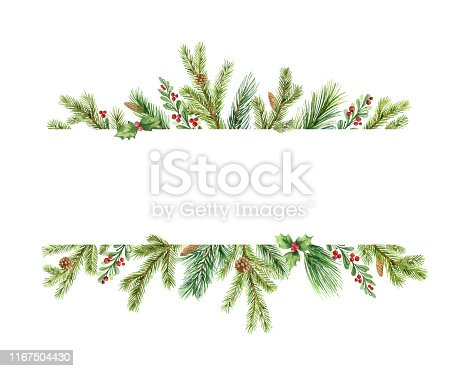 istock Watercolor vector Christmas banner with green pine branches and place for text. 1167504430