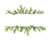 Watercolor vector Christmas banner with green pine branches and place for text. Holiday decoration for greeting cards, poster template and invitations isolated on white background.