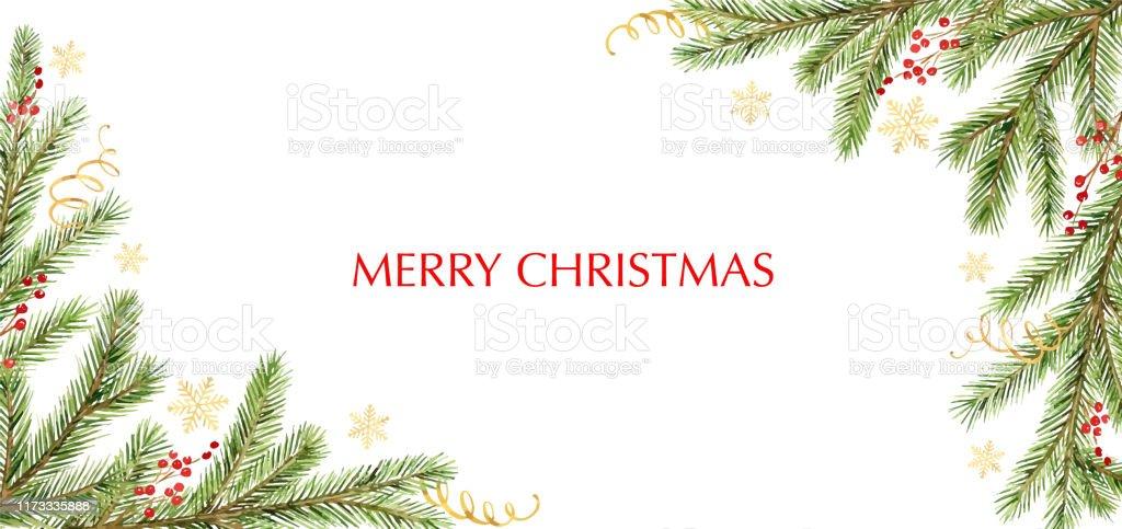 Akvarell vektor jul banner med gröna tall grenar och plats för text. - Royaltyfri Akvarellmålning vektorgrafik