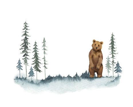 Watercolor vector Christmas card with bear and winter landscape. Hand painted illustration for greeting floral postcard and invitations isolated on white background.