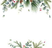 istock Watercolor vector Christmas card with fir branches and eucalyptus. Hand painted illustration for greeting floral postcard and invitations isolated on white background. 1286324060