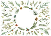 Watercolor vector Christmas card with fir branches and place for text. Illustration for greeting cards and invitations isolated on white background.
