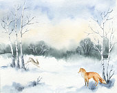 Watercolor vector Christmas card with  Fox, hare and a winter landscape. Hand painted illustration for greeting floral postcard and invitations isolated on white background.