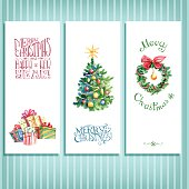 Watercolor vector retro Christmas and New Year cards with the tree, mistletoe wreath and gift boxes