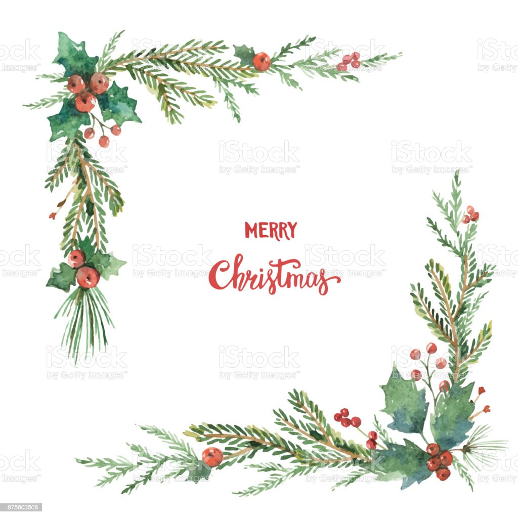 Watercolor vector Christmas decorative corner with fir branches and flower poinsettias. vector art illustration