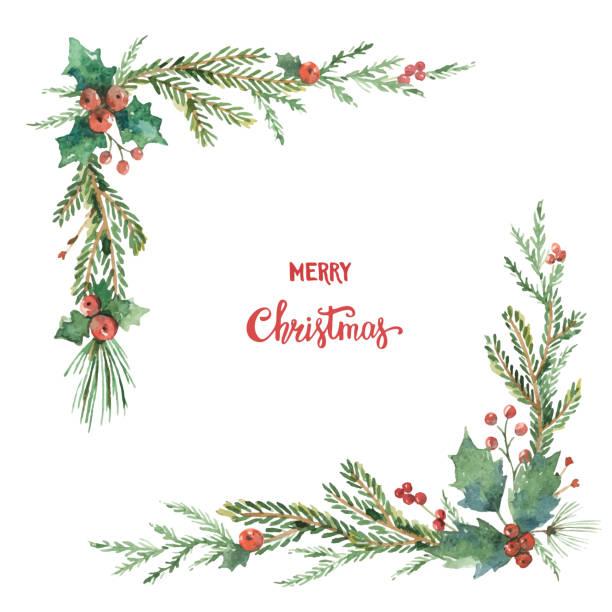 전나무 가지와 꽃 포 수채화 벡터 크리스마스 장식 코너. - 코너 stock illustrations