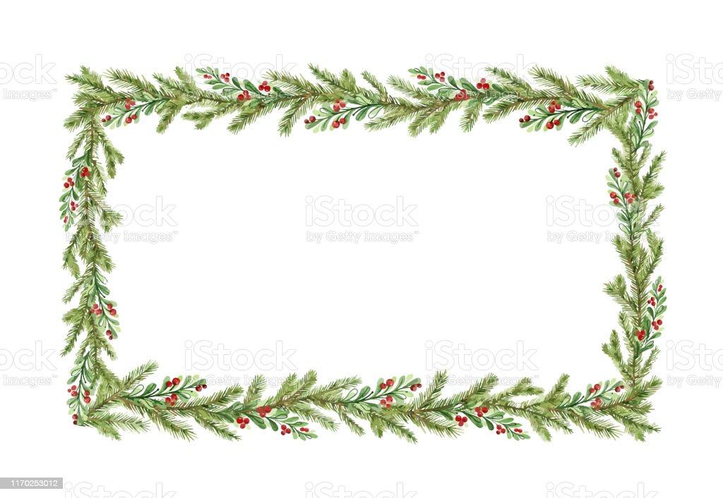 Frame do Natal do vetor da aguarela com filiais do abeto e lugar para o texto. - Vetor de A Data royalty-free