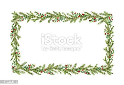Watercolor vector Christmas frame with fir branches and place for text. Illustration for greeting cards and invitations. Winter holiday background.