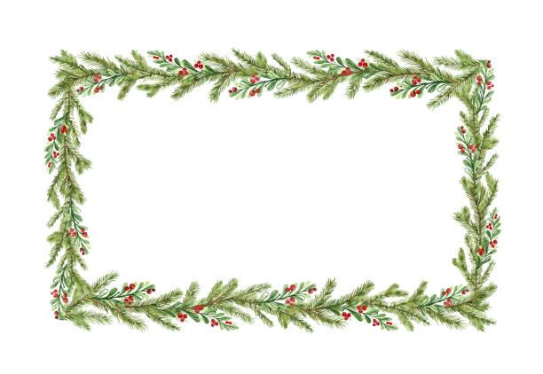 水彩向量聖誕框架與冷杉分支和文本的地方。 - 有邊框的 幅插畫檔、美工圖案、卡通及圖標