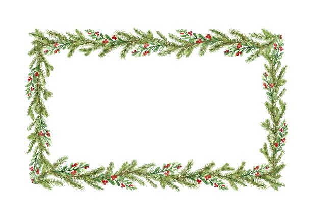 Watercolor vector Christmas frame with fir branches and place for text. Watercolor vector Christmas frame with fir branches and place for text. Illustration for greeting cards and invitations. Winter holiday background. noel stock illustrations