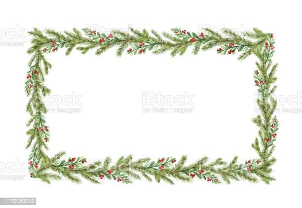 Vetores de Frame Do Natal Do Vetor Da Aguarela Com Filiais Do Abeto E Lugar Para O Texto e mais imagens de A Data