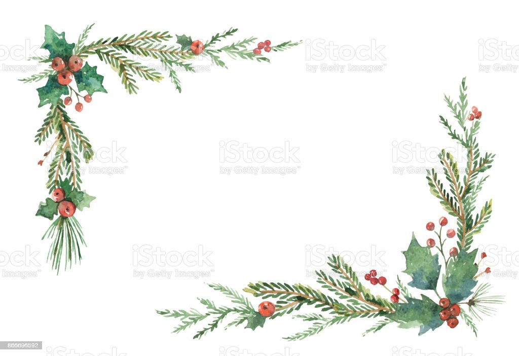 Watercolor vector Christmas frame with fir branches and place for text. vector art illustration